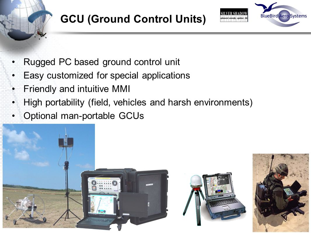 15 GCU (Ground Control Units) Rugged PC based ground control unit Easy customized for special applications Friendly and intuitive MMI High portability
