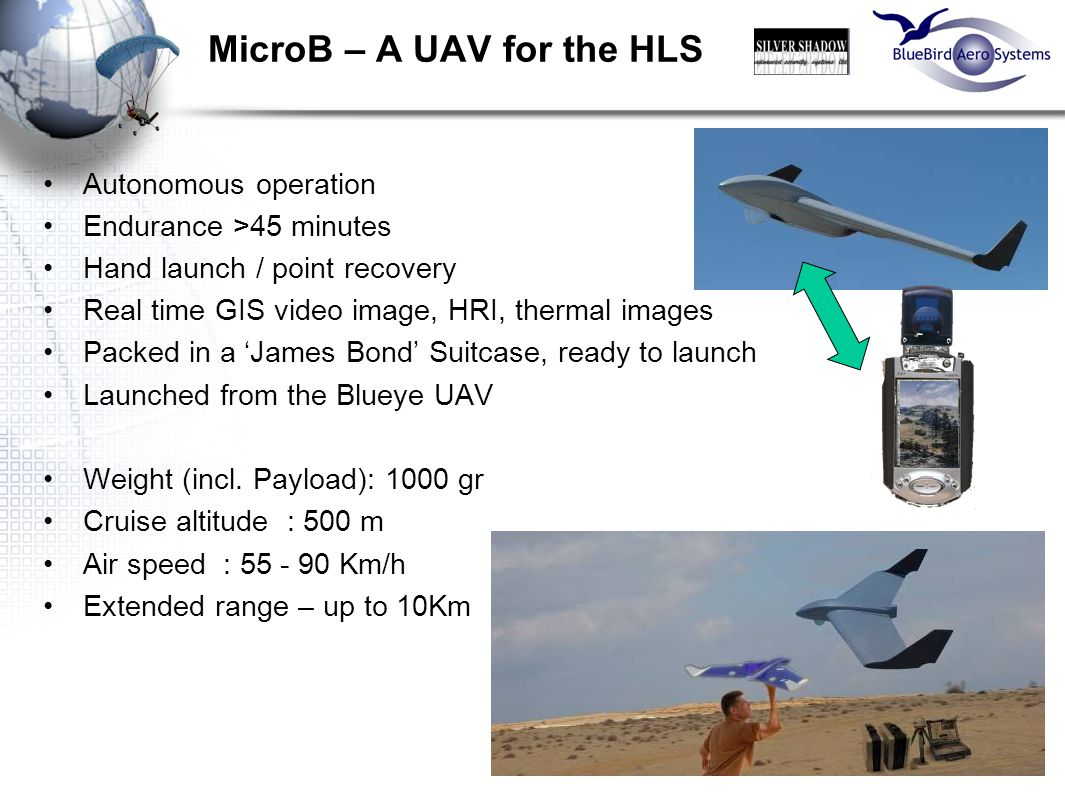 18 MicroB – A UAV for the HLS Autonomous operation Endurance >45 minutes Hand launch / point recovery Real time GIS video image, HRI, thermal images P