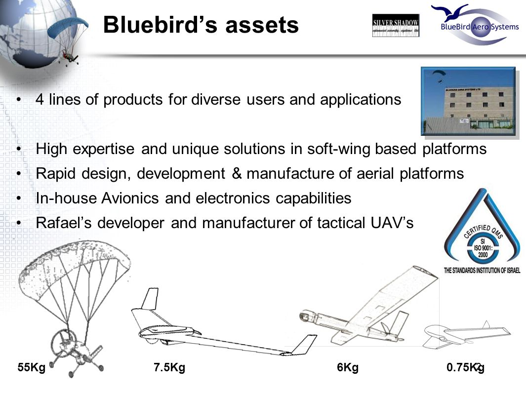 2 Bluebird's assets 4 lines of products for diverse users and applications High expertise and unique solutions in soft-wing based platforms Rapid desi