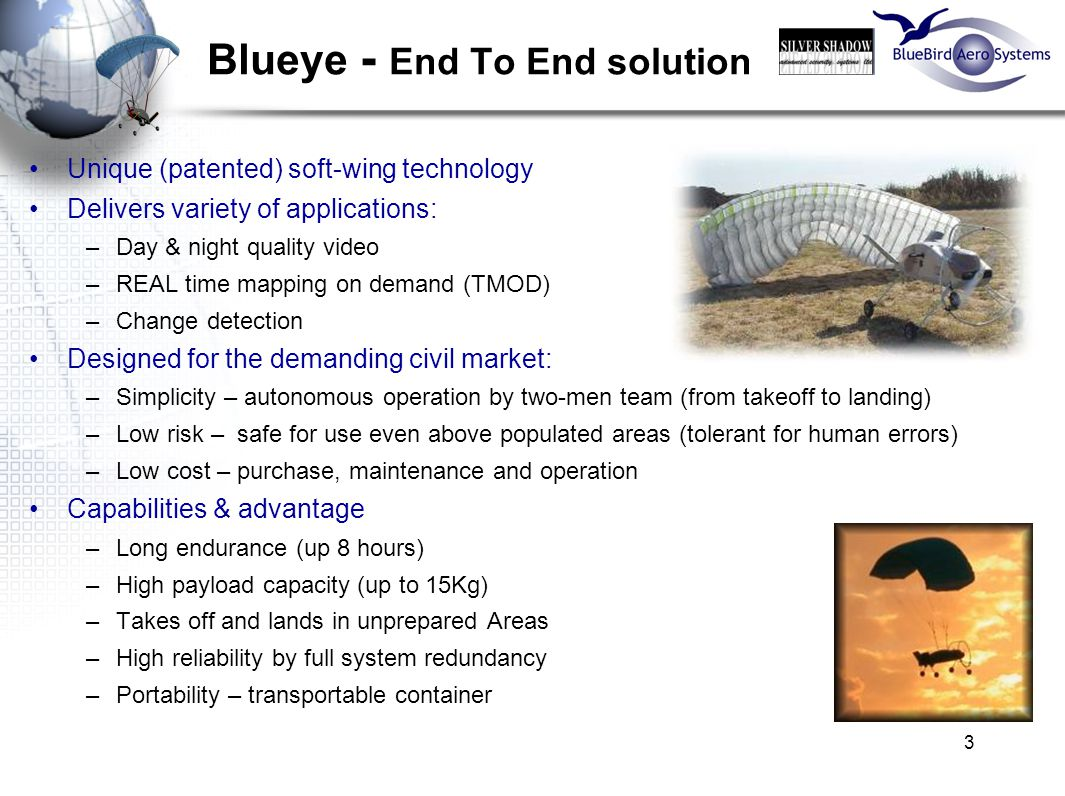 3 Blueye - End To End solution Unique (patented) soft-wing technology Delivers variety of applications: –Day & night quality video –REAL time mapping