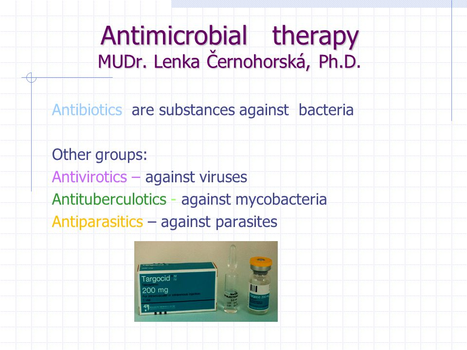 Antibiotics are devided due to mechanism of efficacy into 4 groups: 1.