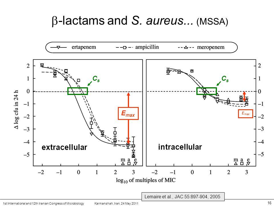 Karmanshah, Iran, 24 May 20111st International and 12th Iranian Congress of Microbiology 16  -lactams and S.