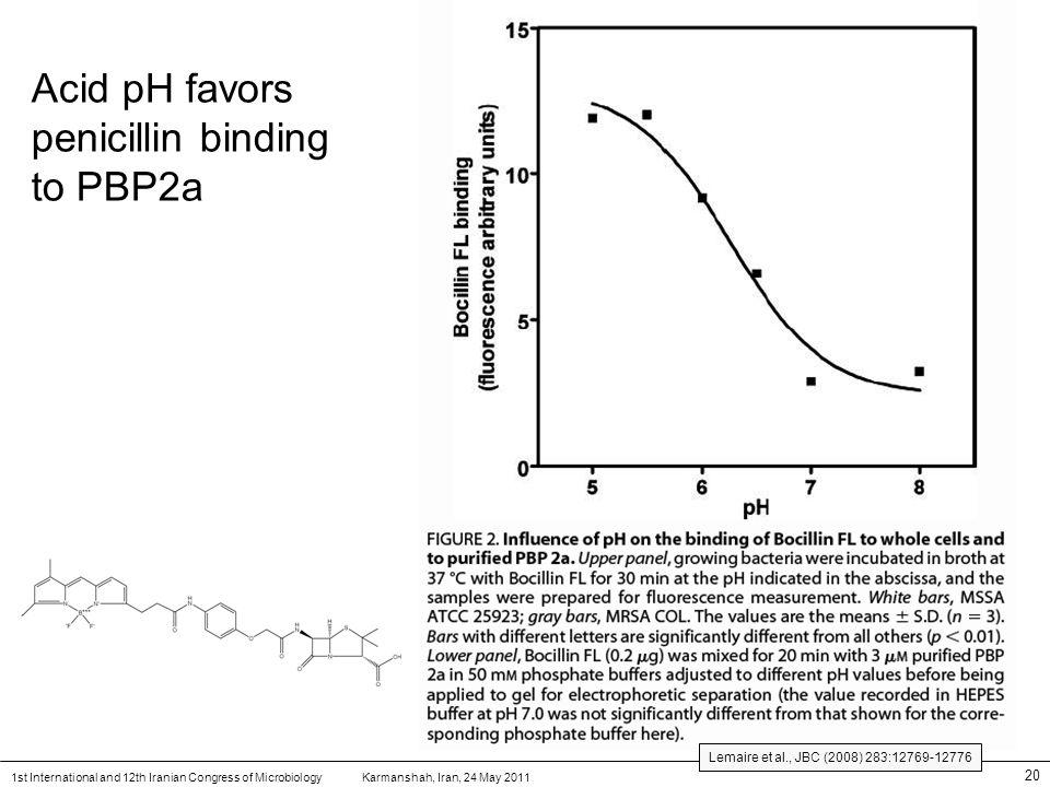 Karmanshah, Iran, 24 May 20111st International and 12th Iranian Congress of Microbiology 20 Acid pH favors penicillin binding to PBP2a Lemaire et al.,