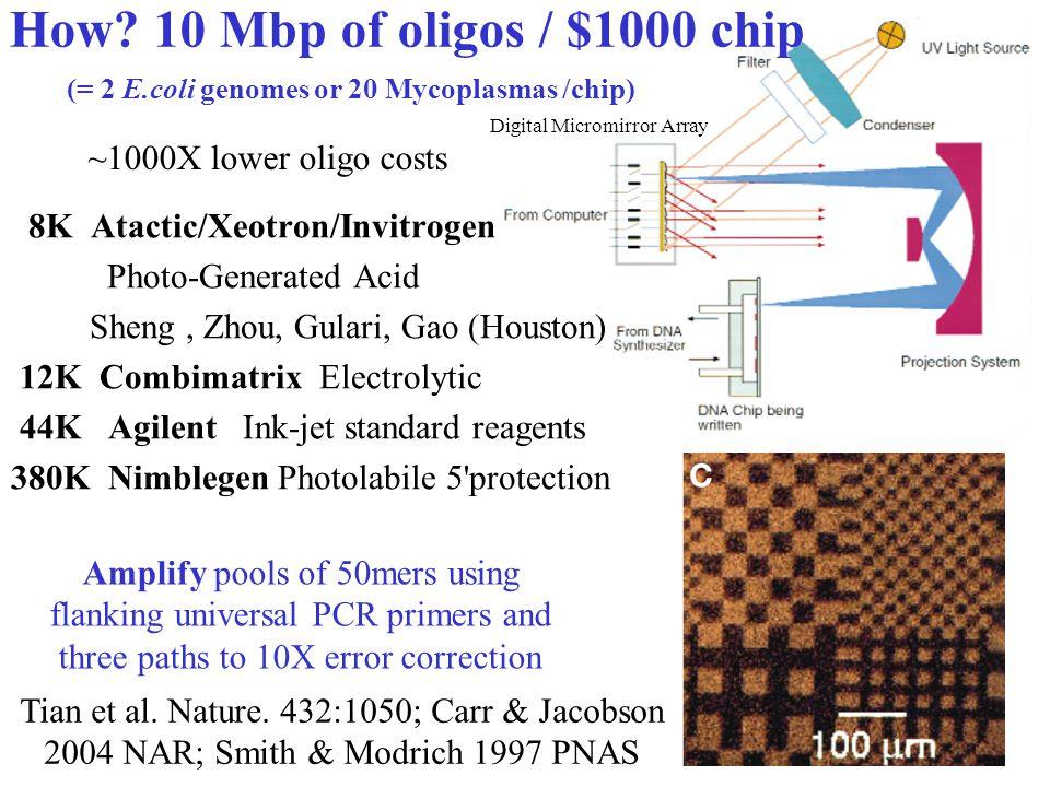 4 How? 10 Mbp of oligos / $1000 chip 8K Atactic/Xeotron/Invitrogen Photo-Generated Acid Sheng, Zhou, Gulari, Gao (Houston) 12K Combimatrix Electrolyti