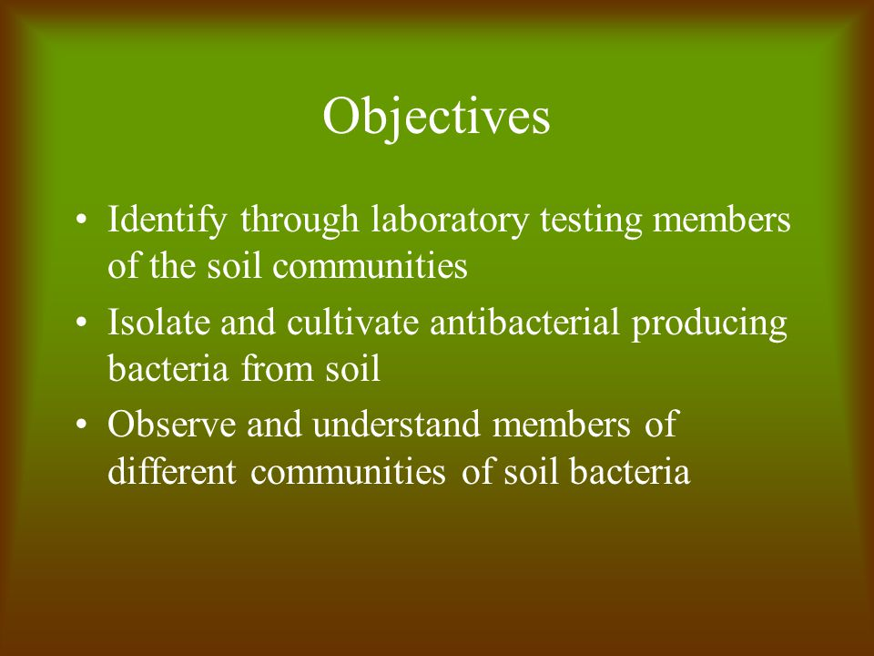 Objectives Identify through laboratory testing members of the soil communities Isolate and cultivate antibacterial producing bacteria from soil Observe and understand members of different communities of soil bacteria