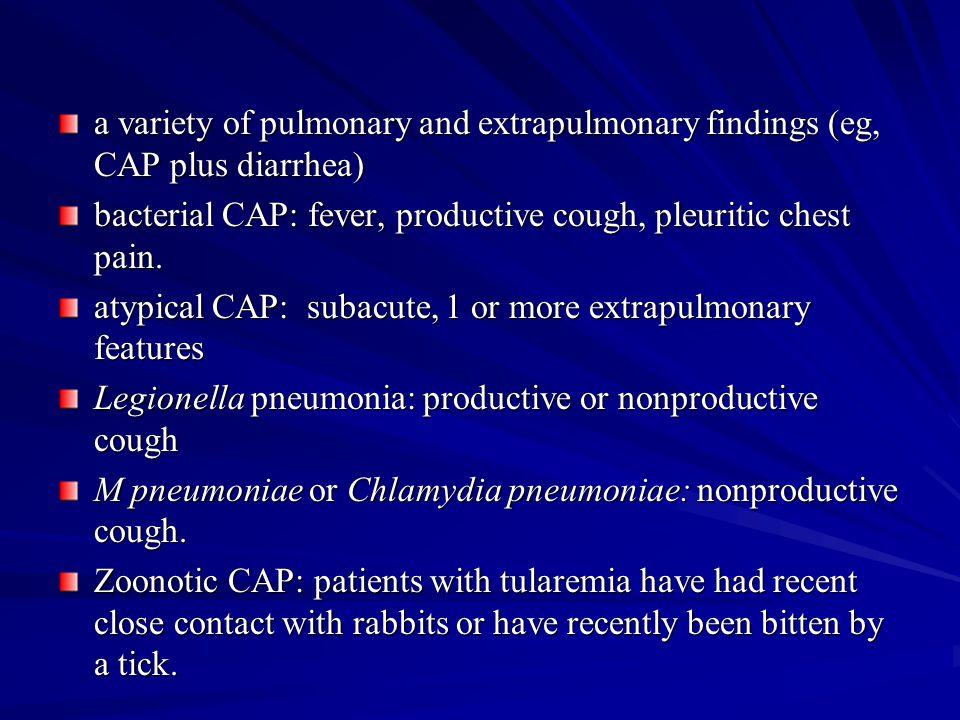 Influenza prim/sec pneumonia Outbreak period influenza A és B virus early pn within 48 h: oseltamivir, zanamivir Primary viral pneumonia: rapid hospital, spec antivir, antibact th Spec antivir th: oseltamivir 2x75 mg/d per os + amoxi/clav or ceftriaxon or moxifloxacin or levofloxacin Secondary, bacterial pneumonia: Streptococcus pneumoniae, Staphylococcus aureus moderately severe: amoxi/clav 3x1,2 g/d (iv) severe: ceftriaxon 2 g/d or moxifloxacin 400 mg/d or levofloxacin 500-1000 mg/d