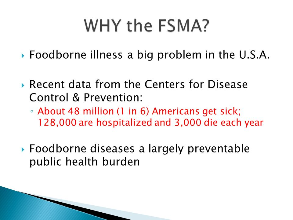  Foodborne illness a big problem in the U.S.A.