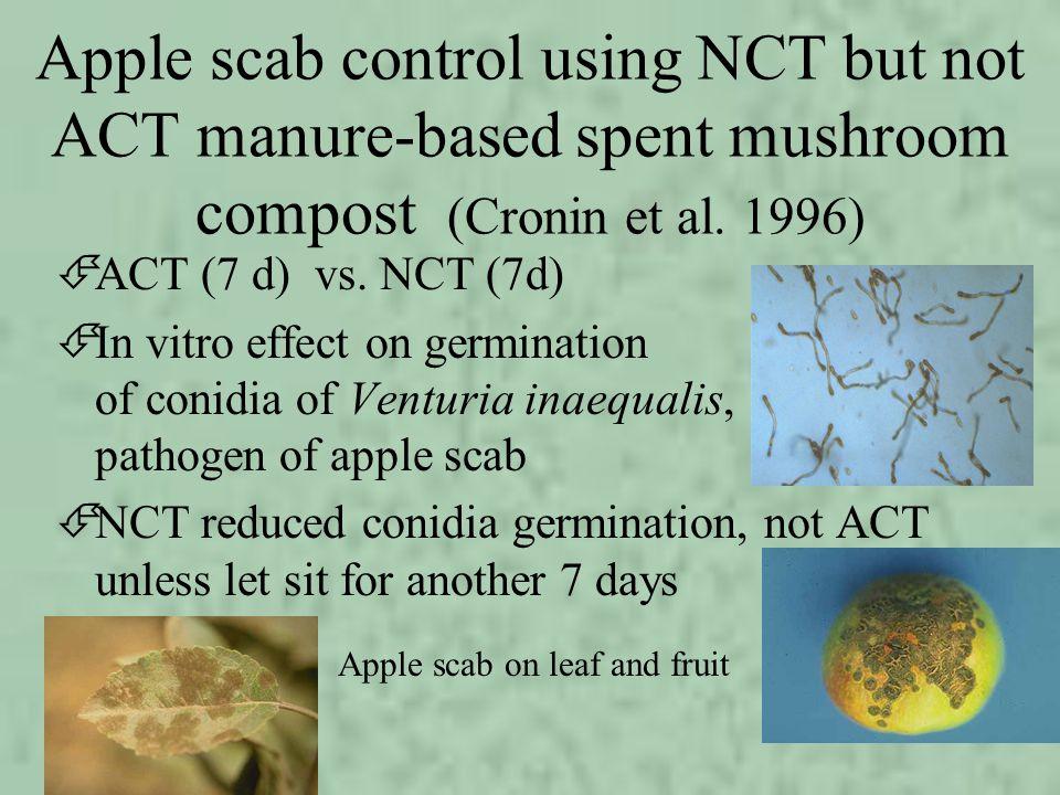 Apple scab control using NCT but not ACT manure-based spent mushroom compost (Cronin et al. 1996) ÉACT (7 d) vs. NCT (7d) ÉIn vitro effect on germinat