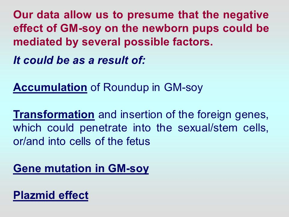 Our data allow us to presume that the negative effect of GM-soy on the newborn pups could be mediated by several possible factors.