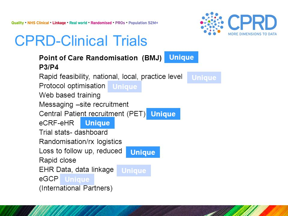 CPRD-Clinical Trials Point of Care Randomisation (BMJ) P3/P4 Rapid feasibility, national, local, practice level Protocol optimisation Web based traini