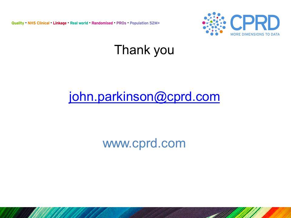 Thank you john.parkinson@cprd.com www.cprd.com