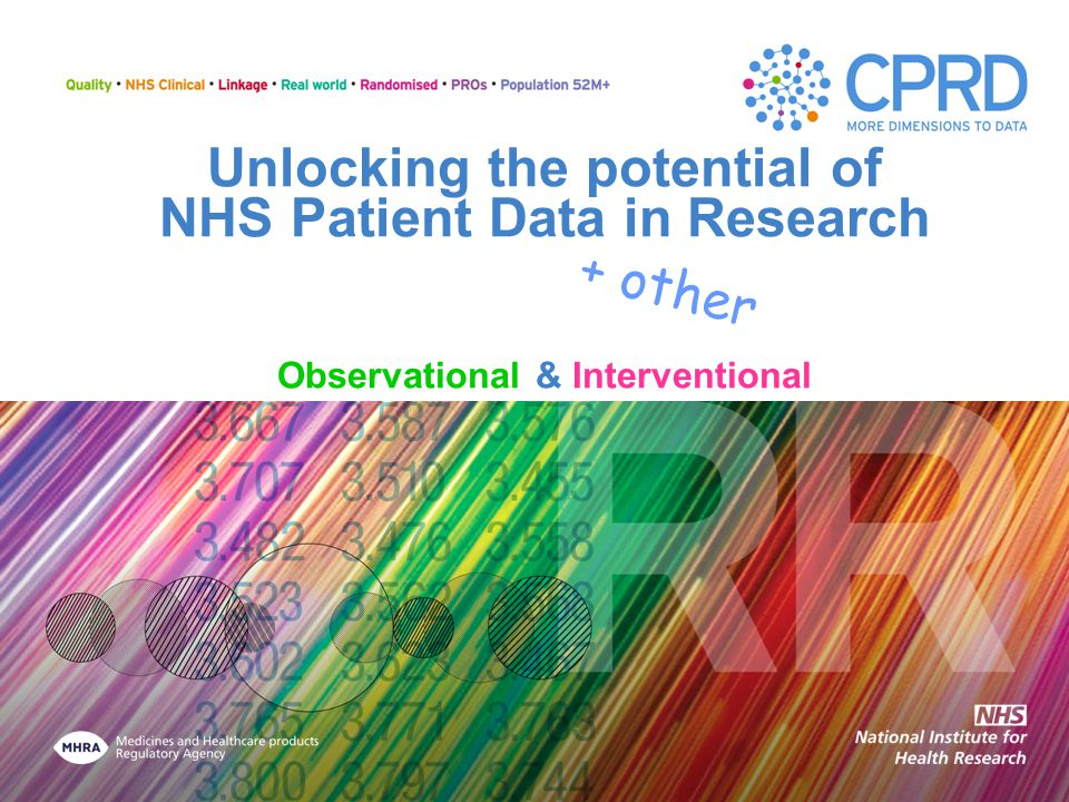 CPRD Interventional * Clinical Trials Working in partnership with NIHR Point of Care randomisation eCRF P3/P4 * Samples * PRO collections enabled efficiency