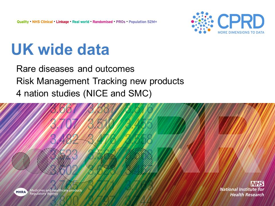 UK wide data Rare diseases and outcomes Risk Management Tracking new products 4 nation studies (NICE and SMC)