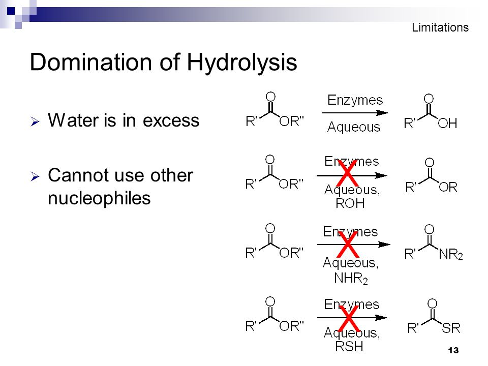 13 Domination of Hydrolysis  Water is in excess  Cannot use other nucleophiles Limitations