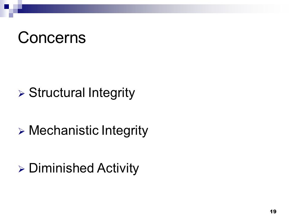 19 Concerns  Structural Integrity  Mechanistic Integrity  Diminished Activity