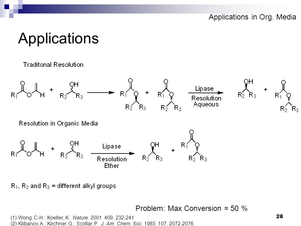 28 Applications (1)Wong, C-H.; Koeller, K. Nature.