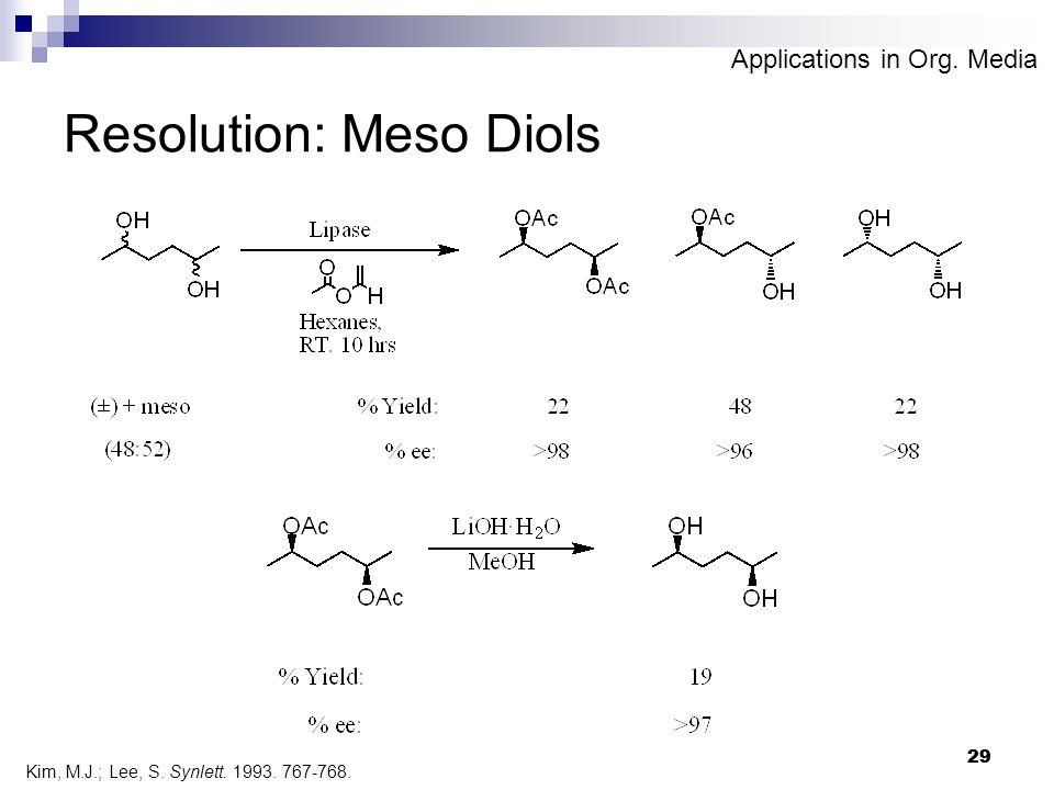 29 Resolution: Meso Diols Kim, M.J.; Lee, S. Synlett. 1993. 767-768. Applications in Org. Media