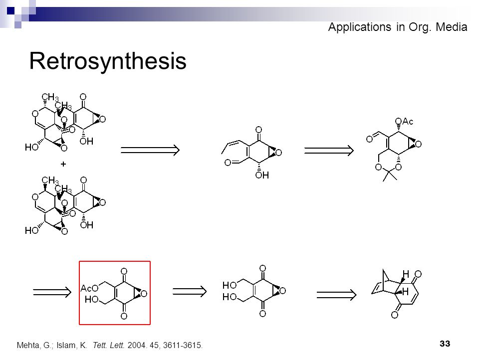 33 Retrosynthesis Mehta, G.; Islam, K. Tett. Lett. 2004. 45, 3611-3615. Applications in Org. Media