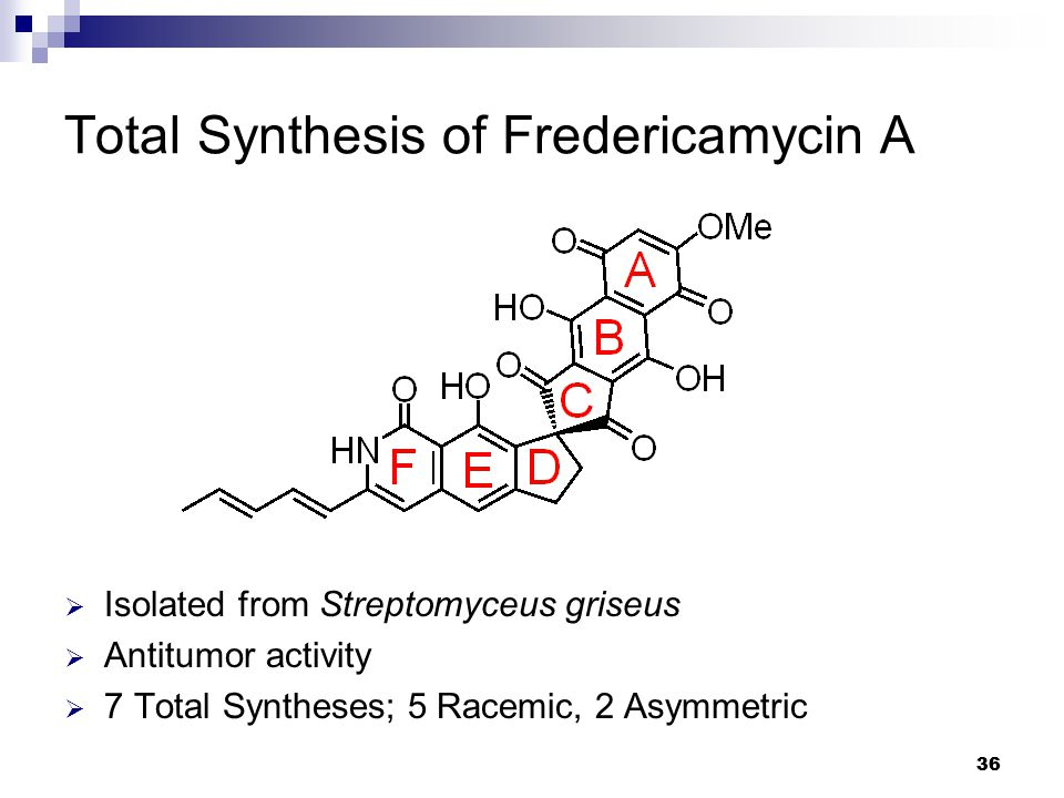 36 Total Synthesis of Fredericamycin A  Isolated from Streptomyceus griseus  Antitumor activity  7 Total Syntheses; 5 Racemic, 2 Asymmetric
