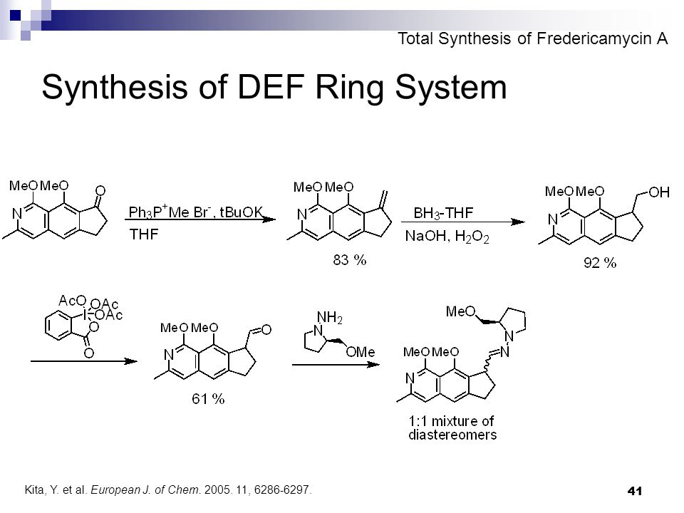 41 Synthesis of DEF Ring System Total Synthesis of Fredericamycin A Kita, Y.