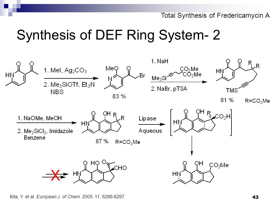 43 Synthesis of DEF Ring System- 2 R=CO 2 Me Total Synthesis of Fredericamycin A R=CO 2 Me Kita, Y.