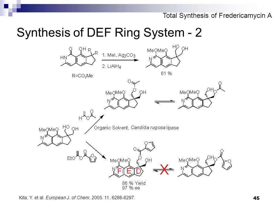 45 Synthesis of DEF Ring System - 2 R=CO 2 Me Total Synthesis of Fredericamycin A Kita, Y. et al. European J. of Chem. 2005. 11, 6286-6297.