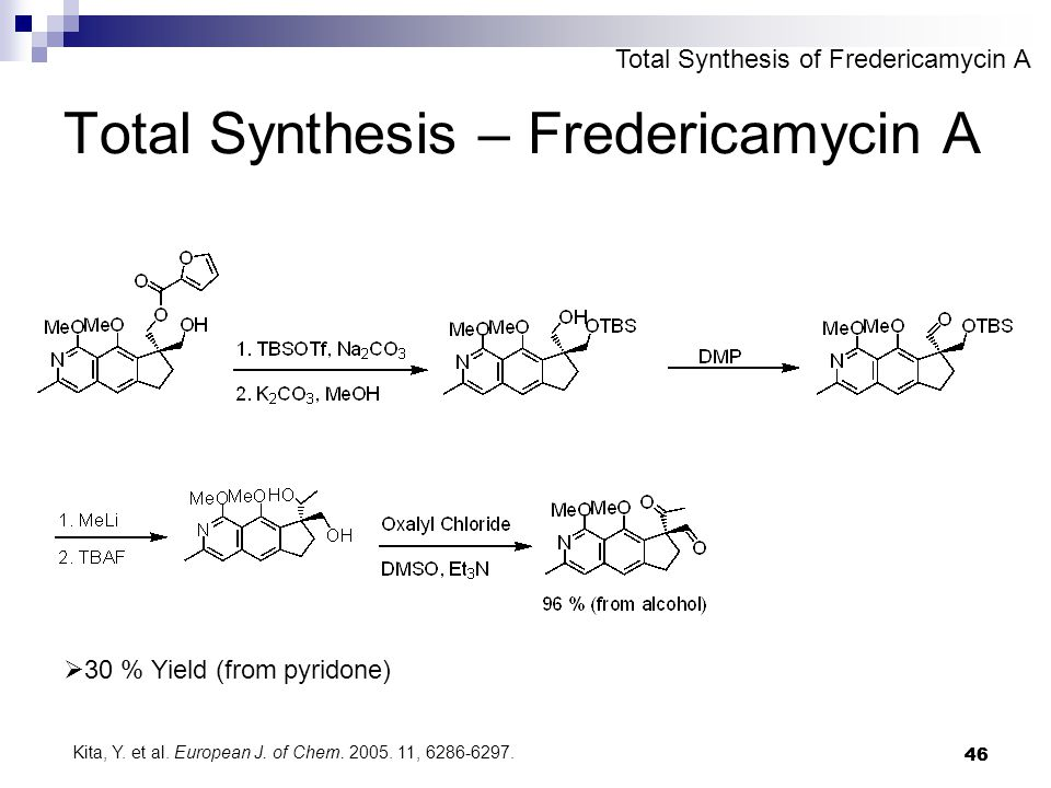 46 Total Synthesis – Fredericamycin A  30 % Yield (from pyridone) Total Synthesis of Fredericamycin A Kita, Y.