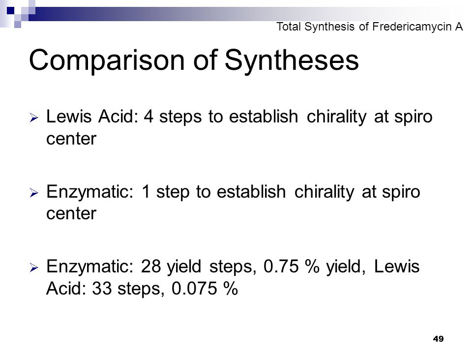 49 Comparison of Syntheses  Lewis Acid: 4 steps to establish chirality at spiro center  Enzymatic: 1 step to establish chirality at spiro center  E