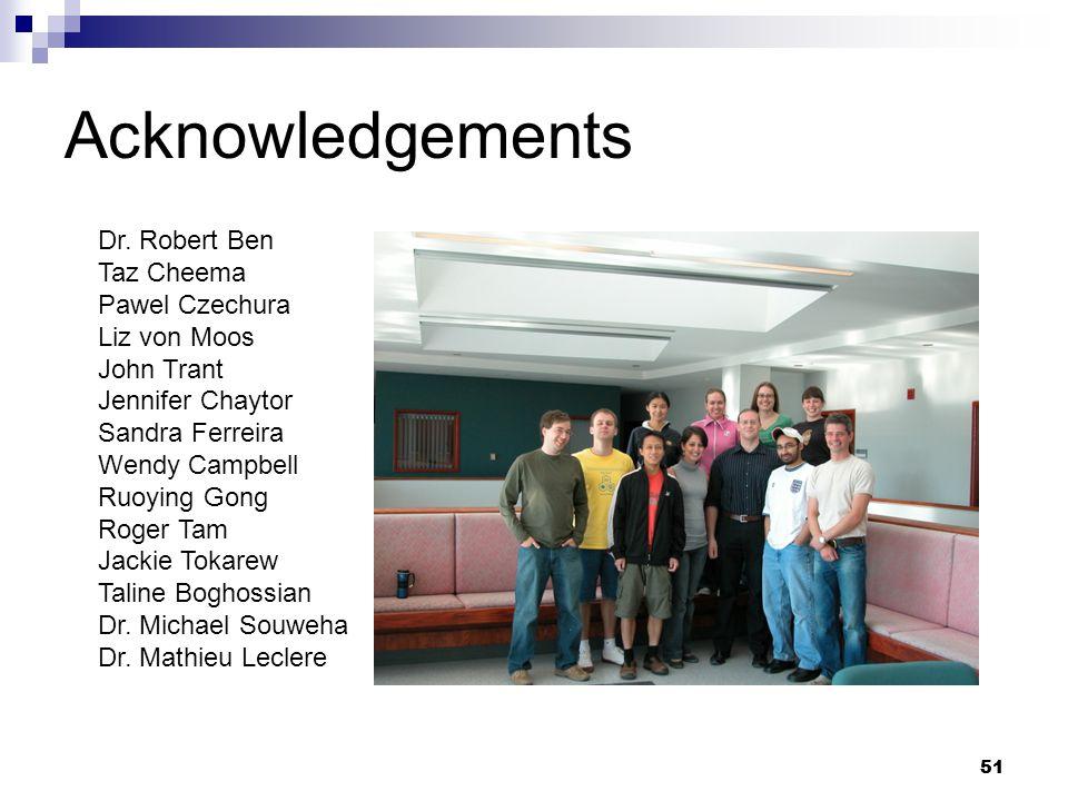 51 Acknowledgements Dr.