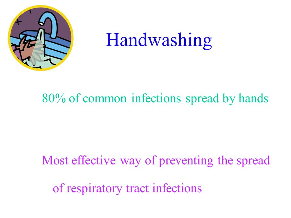 Handwashing 80% of common infections spread by hands Most effective way of preventing the spread of respiratory tract infections