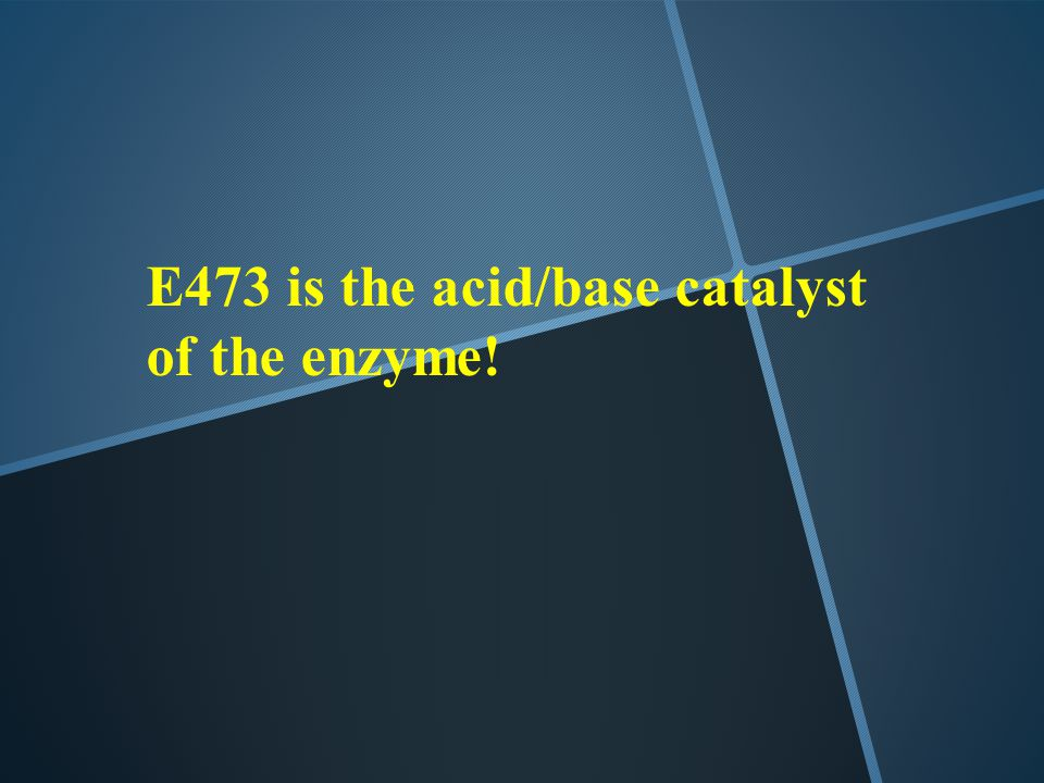 E473 is the acid/base catalyst of the enzyme!