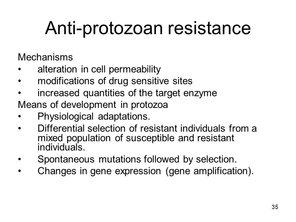 35 Anti-protozoan resistance Mechanisms alteration in cell permeability modifications of drug sensitive sites increased quantities of the target enzyme Means of development in protozoa Physiological adaptations.