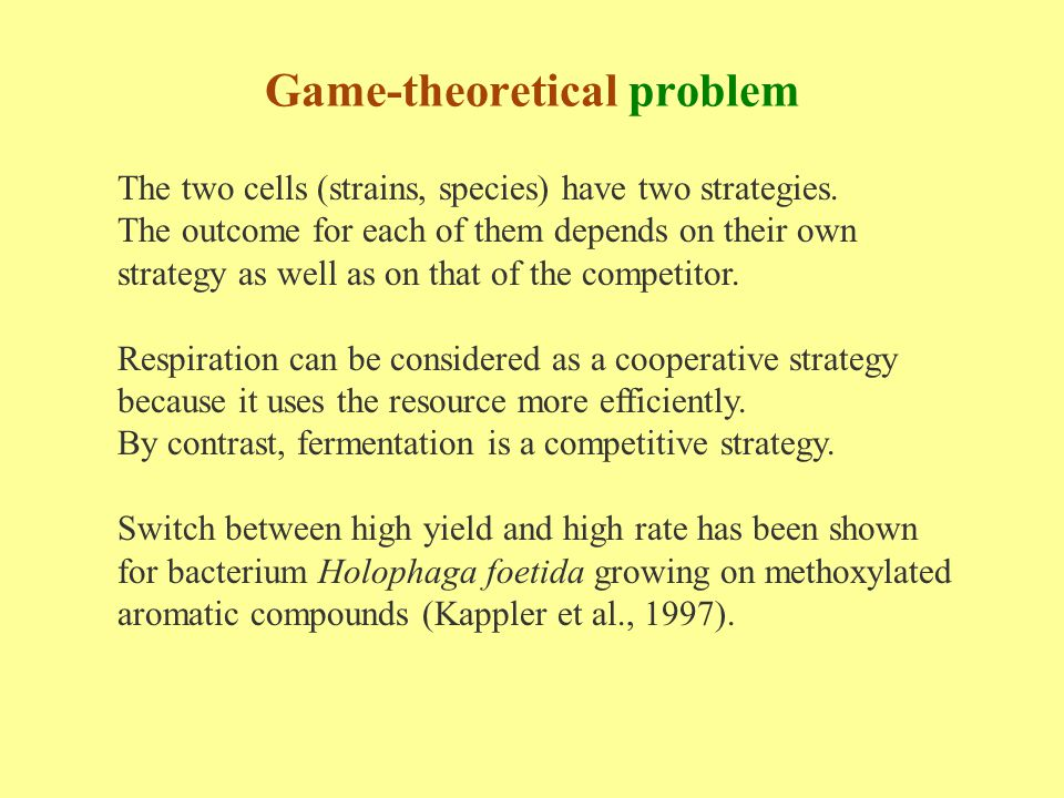 The two cells (strains, species) have two strategies. The outcome for each of them depends on their own strategy as well as on that of the competitor.