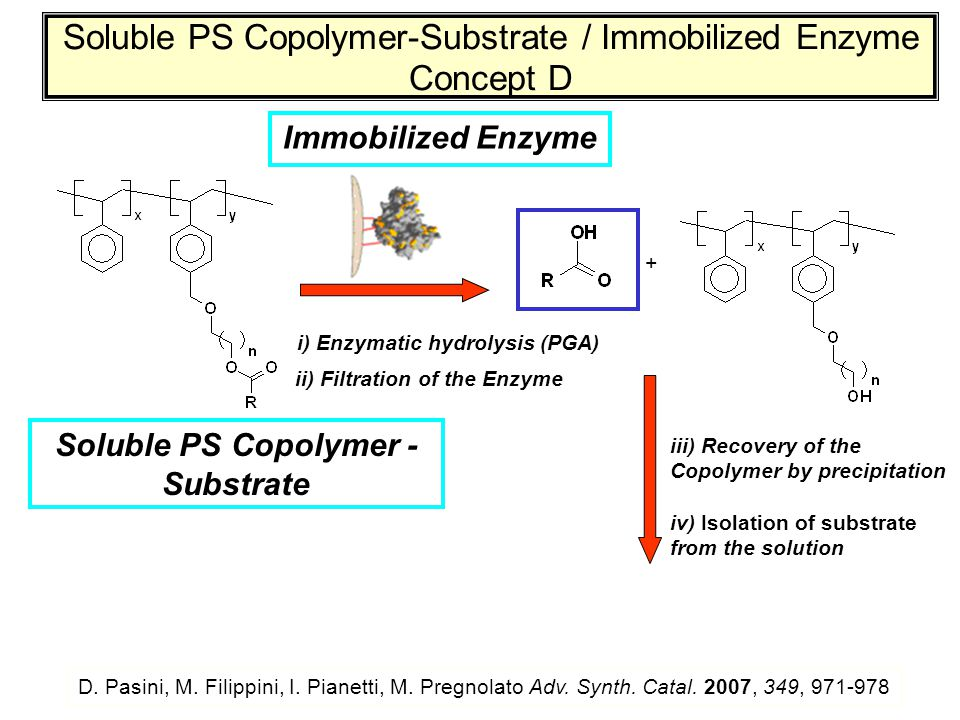 Soluble PS Copolymer-Substrate / Immobilized Enzyme Concept D i) Enzymatic hydrolysis (PGA) Immobilized Enzyme D. Pasini, M. Filippini, I. Pianetti, M