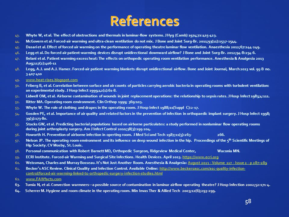 58 References 43.Whyte W, et al. The effect of obstructions and thermals in laminar-flow systems.