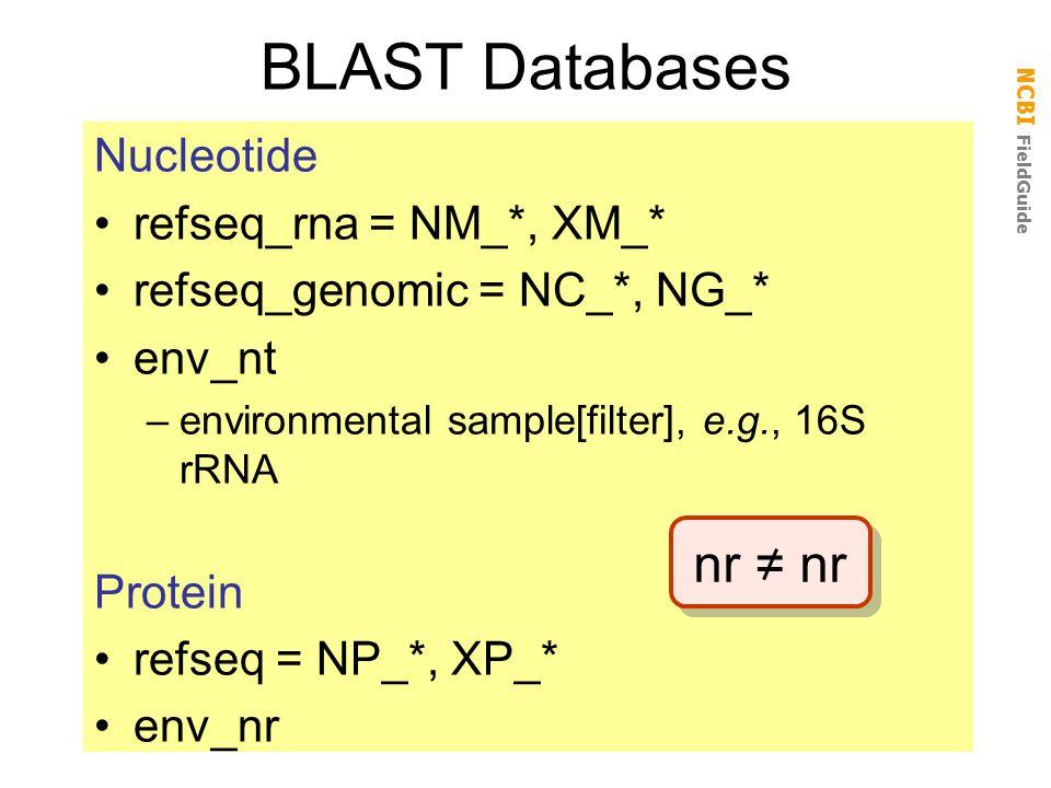 NCBI FieldGuide BLAST Databases Nucleotide refseq_rna = NM_*, XM_* refseq_genomic = NC_*, NG_* env_nt –environmental sample[filter], e.g., 16S rRNA Protein refseq = NP_*, XP_* env_nr nr = nr