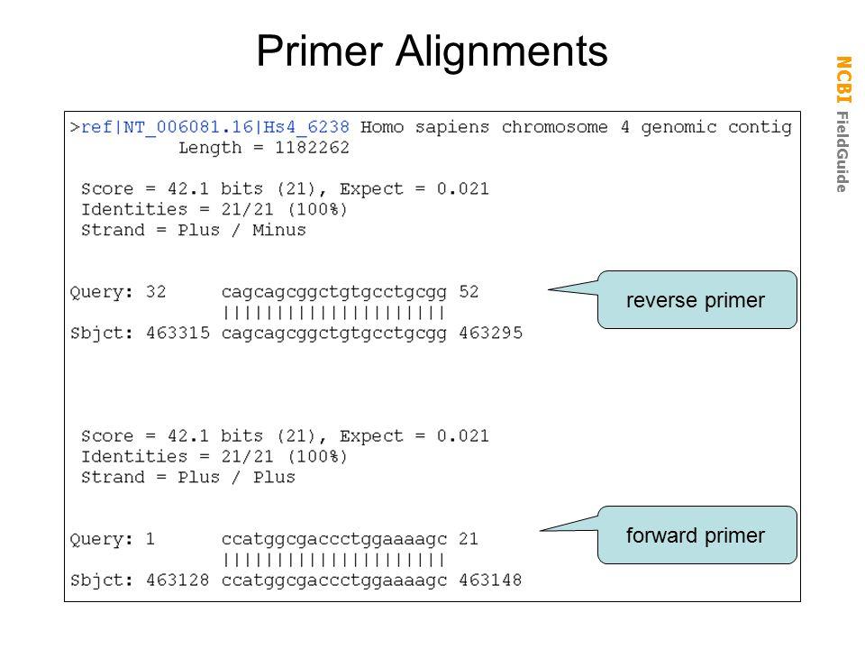 NCBI FieldGuide Primer Alignments forward primer reverse primer