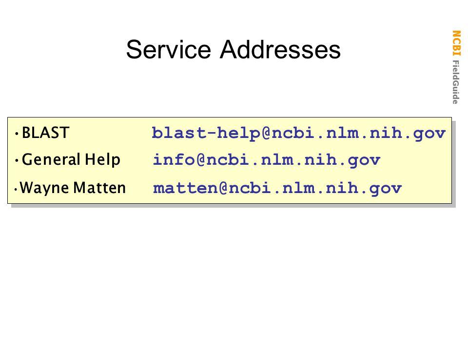 NCBI FieldGuide Service Addresses BLAST blast-help@ncbi.nlm.nih.gov General Help info@ncbi.nlm.nih.gov Wayne Matten matten@ncbi.nlm.nih.gov BLAST blast-help@ncbi.nlm.nih.gov General Help info@ncbi.nlm.nih.gov Wayne Matten matten@ncbi.nlm.nih.gov