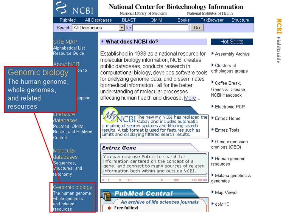 NCBI FieldGuide Genomic Biology