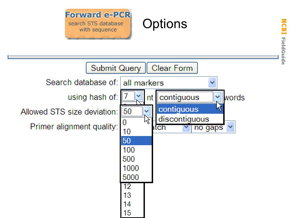 NCBI FieldGuide Options