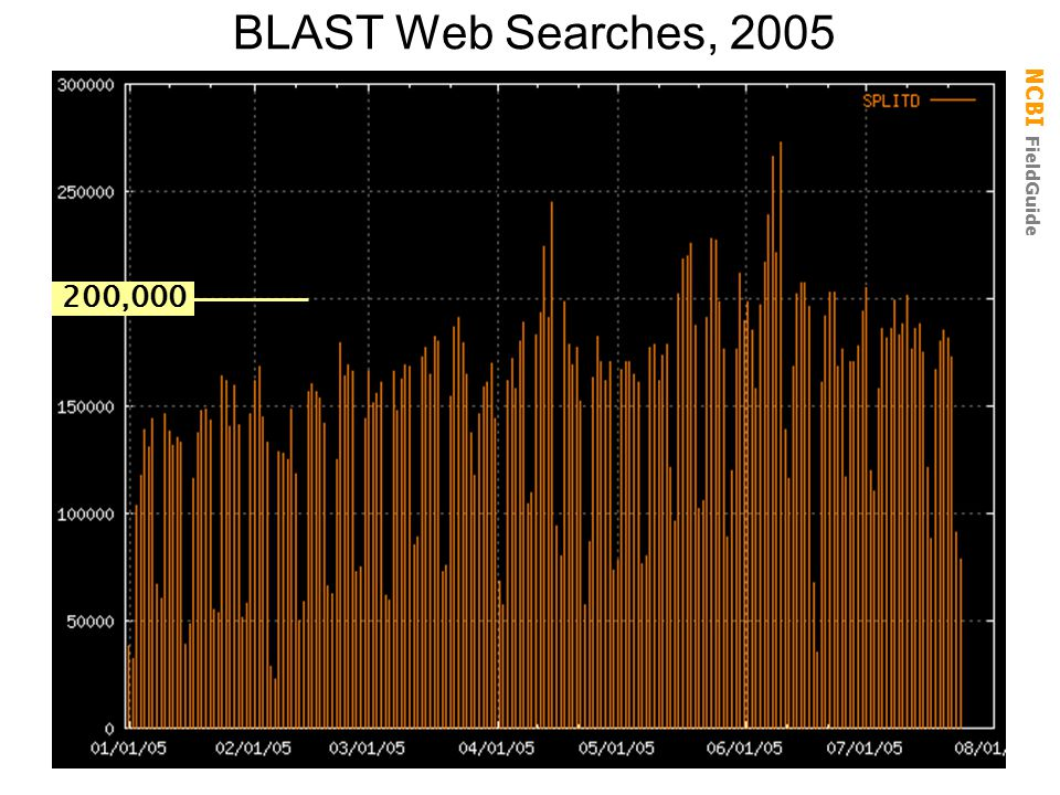 NCBI FieldGuide BLAST Web Searches, 2005 200,000