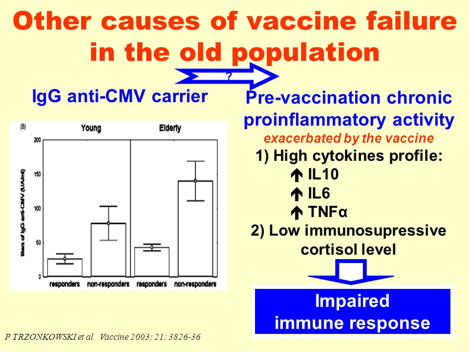Other causes of vaccine failure in the old population IgG anti-CMV carrier P TRZONKOWSKI et al Vaccine 2003; 21: 3826-36 Pre-vaccination chronic proinflammatory activity exacerbated by the vaccine 1) High cytokines profile:  IL10  IL6  TNFα 2) Low immunosupressive cortisol level .