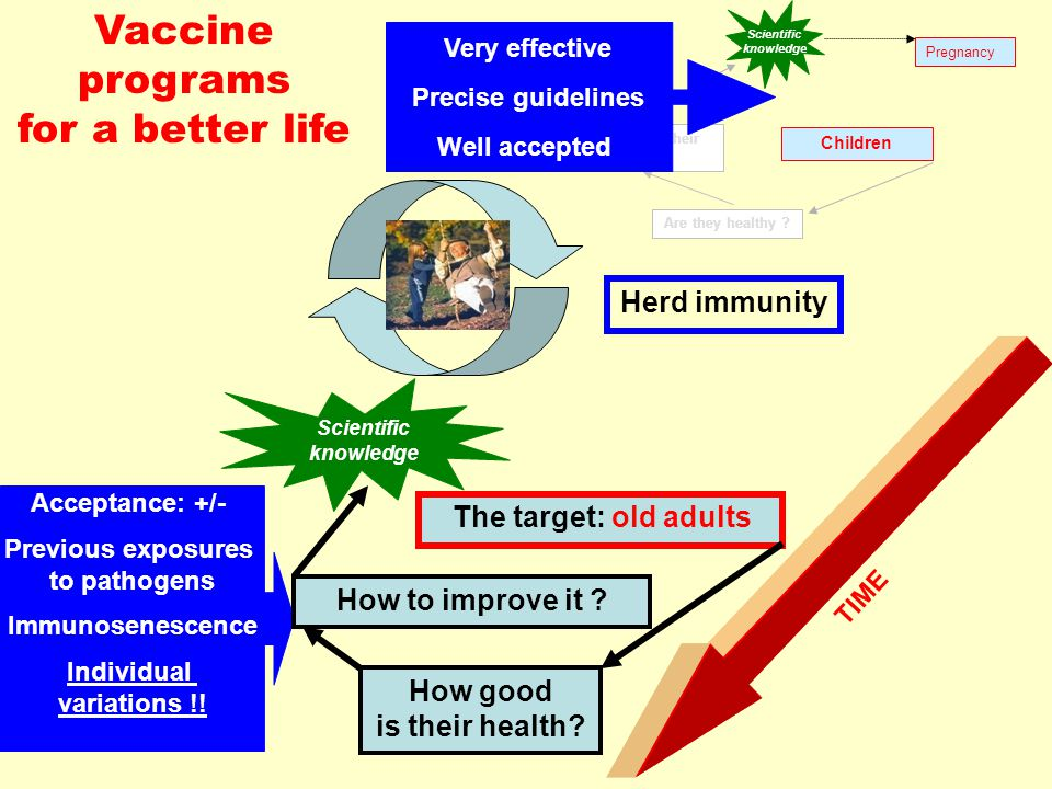 TIME Vaccine programs for a better life Acceptance: +/- Previous exposures to pathogens Immunosenescence Individual variations !.