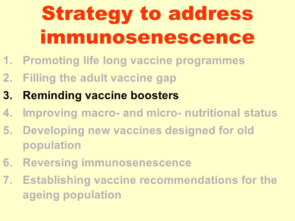 Strategy to address immunosenescence 1.Promoting life long vaccine programmes 2.Filling the adult vaccine gap 3.Reminding vaccine boosters 4.Improving macro- and micro- nutritional status 5.Developing new vaccines designed for old population 6.Reversing immunosenescence 7.Establishing vaccine recommendations for the ageing population