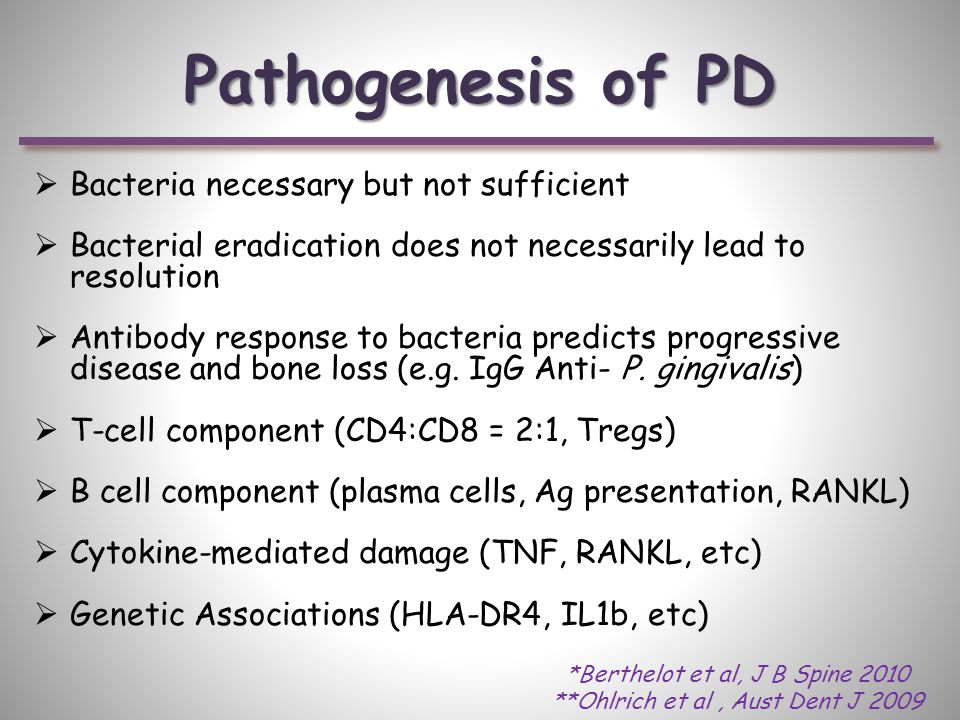 Pathogenesis of PD  Bacteria necessary but not sufficient  Bacterial eradication does not necessarily lead to resolution  Antibody response to bacteria predicts progressive disease and bone loss (e.g.