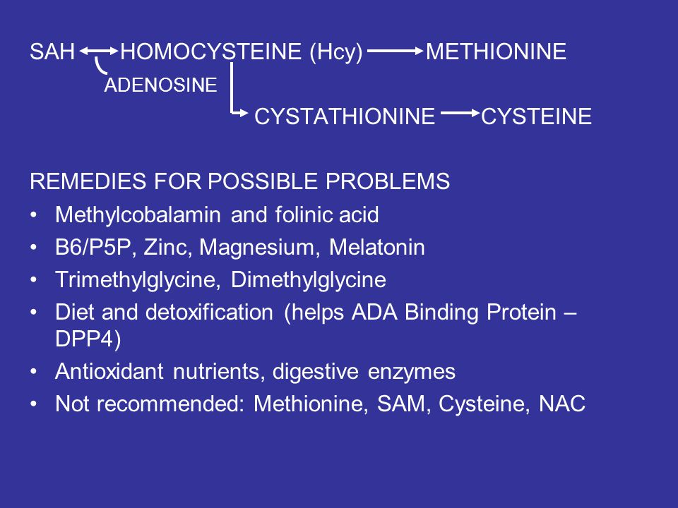 SAH HOMOCYSTEINE (Hcy) METHIONINE ADENOSINE CYSTATHIONINE CYSTEINE REMEDIES FOR POSSIBLE PROBLEMS Methylcobalamin and folinic acid B6/P5P, Zinc, Magne