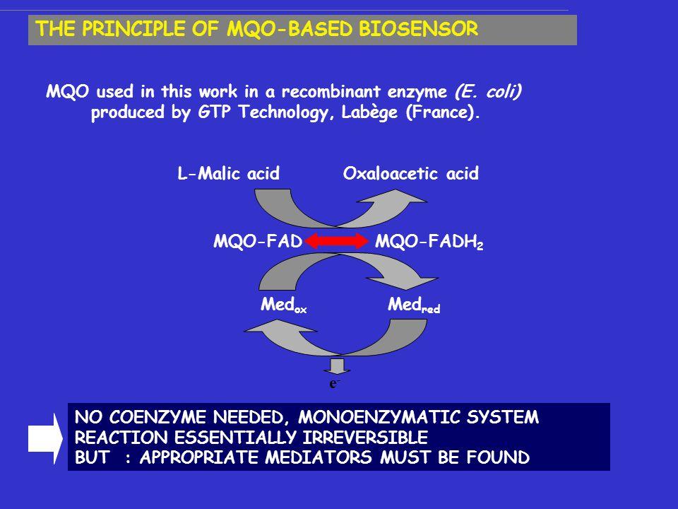 MQO-FAD MQO-FADH 2 Med ox Med red e-e- L-Malic acidOxaloacetic acid MQO used in this work in a recombinant enzyme (E.