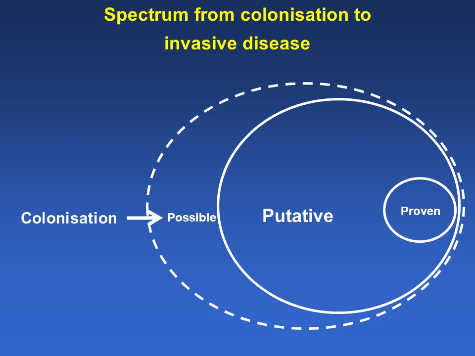 Spectrum from colonisation to invasive disease Proven Putative Possible Colonisation