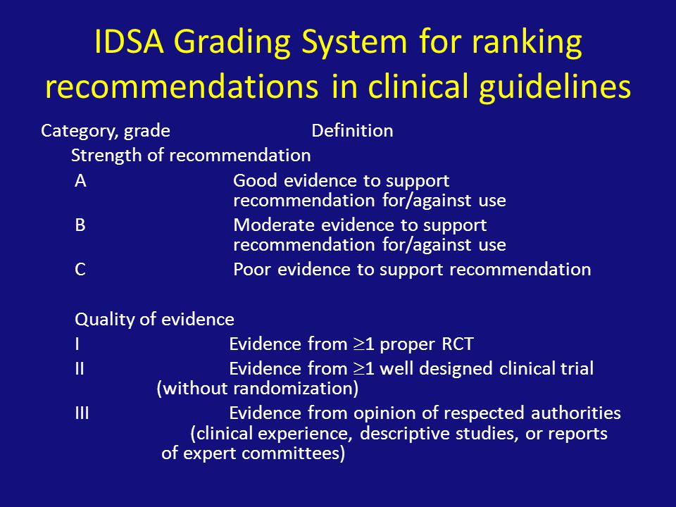 IDSA Grading System for ranking recommendations in clinical guidelines Category, gradeDefinition Strength of recommendation A Good evidence to support recommendation for/against use B Moderate evidence to support recommendation for/against use C Poor evidence to support recommendation Quality of evidence I Evidence from  1 proper RCT II Evidence from  1 well designed clinical trial (without randomization) III Evidence from opinion of respected authorities (clinical experience, descriptive studies, or reports of expert committees)