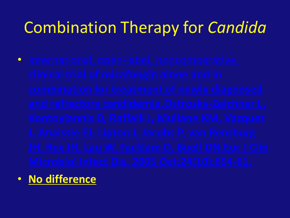 Combination Therapy for Candida International, open-label, noncomparative, clinical trial of micafungin alone and in combination for treatment of newly diagnosed and refractory candidemia.Ostrosky-Zeichner L, Kontoyiannis D, Raffalli J, Mullane KM, Vazquez J, Anaissie EJ, Lipton J, Jacobs P, van Rensburg JH, Rex JH, Lau W, Facklam D, Buell DN.Eur J Clin Microbiol Infect Dis.